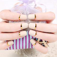 Накладные ногти с плавным градиентом и геометрическим блеском, 24 шт., длинные квадратные съемные накладные ногти с полным покрытием, наклад...(Китай)