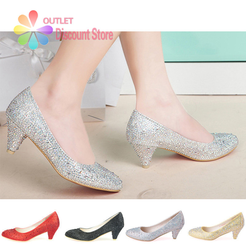 Silver Rhinestone Heels Low Heel Glitter Wedding Shoes