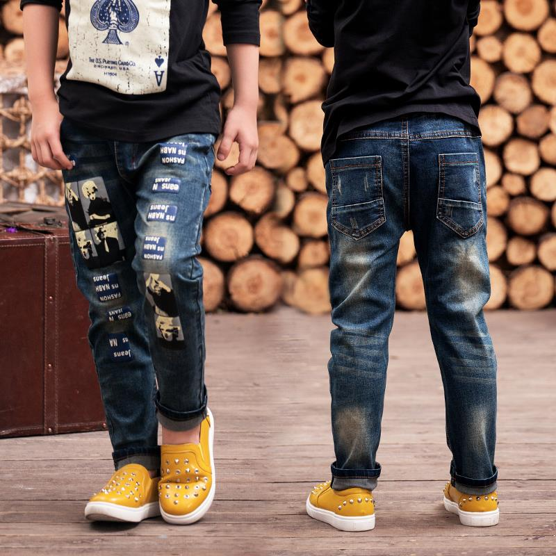 2c15e0e5e New Design 2016 Spring Autumn Boy Fashion Denim Jeans, Casual Loose Letter  Cartoon Character Long Pants Trousers Kids Clothing