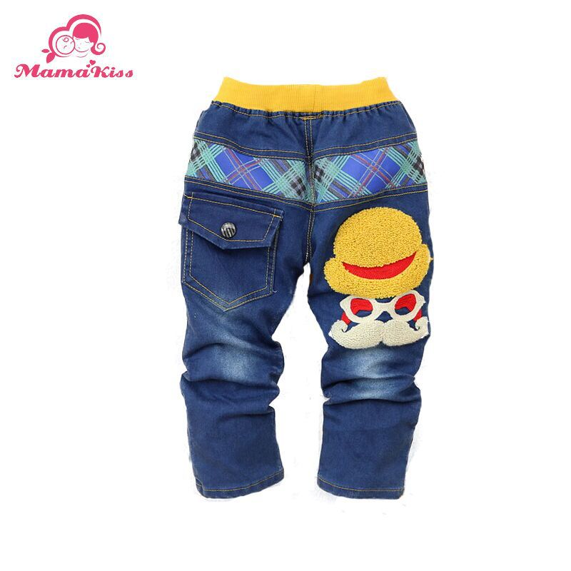2016 New Autumn Fashion cartoon cat design embroidered Baby Boys Jeans denim trousers B101