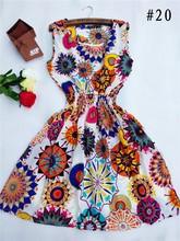 ¡ CALIENTE! 2016 nueva 20 Estilos Mujeres casual chaleco sin mangas impreso gasa de la playa vestido Bohemio floral leopard nz17