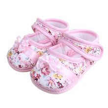 Girls Bowknot Flower Print Baby Toddler Shoes Spring Autumn Children Cotton Soft Footwear First Walkers Delivery Without Box