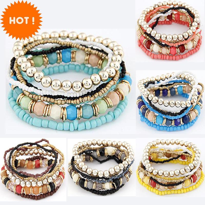 Aliexpress горячая распродажа корейский дизайнер мода богемия бусины Beeaded мульти-нить растянуть браслет браслеты pulseira для женщин девушки