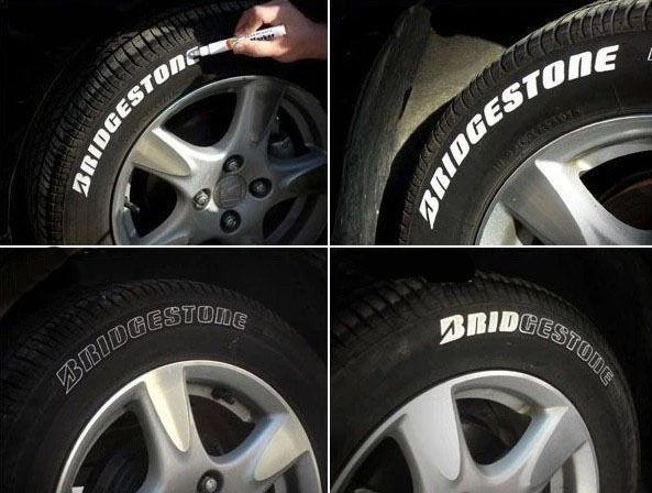 2 шт. белый автомобиль мотоцикл шин шина протектора касание вверх маркер краска ручка