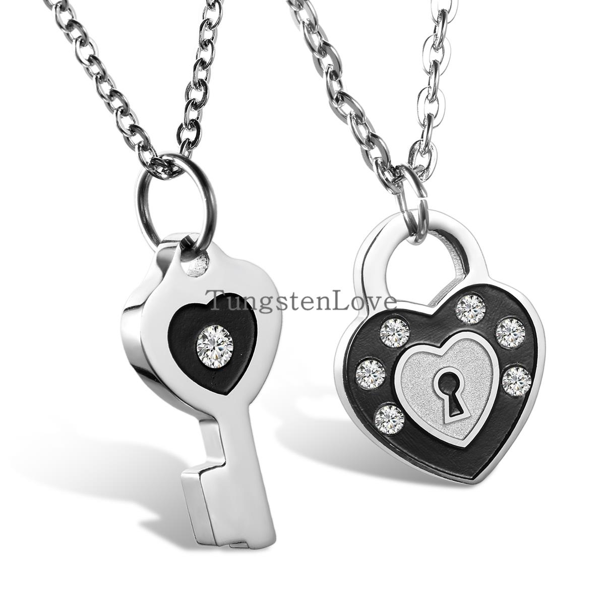 2pcs Mens Womens Couples Stainless Steel With Rhinestone