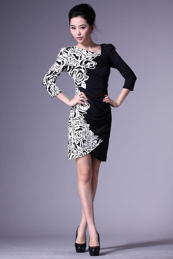 d7a3562ca81f Fashion Nice Print Black White Flower Dress For Women With 3XL,Cocktail  Party Dress Retail Wholesale Free shipping HSK722-in Dresses from Women's  Clothing ...