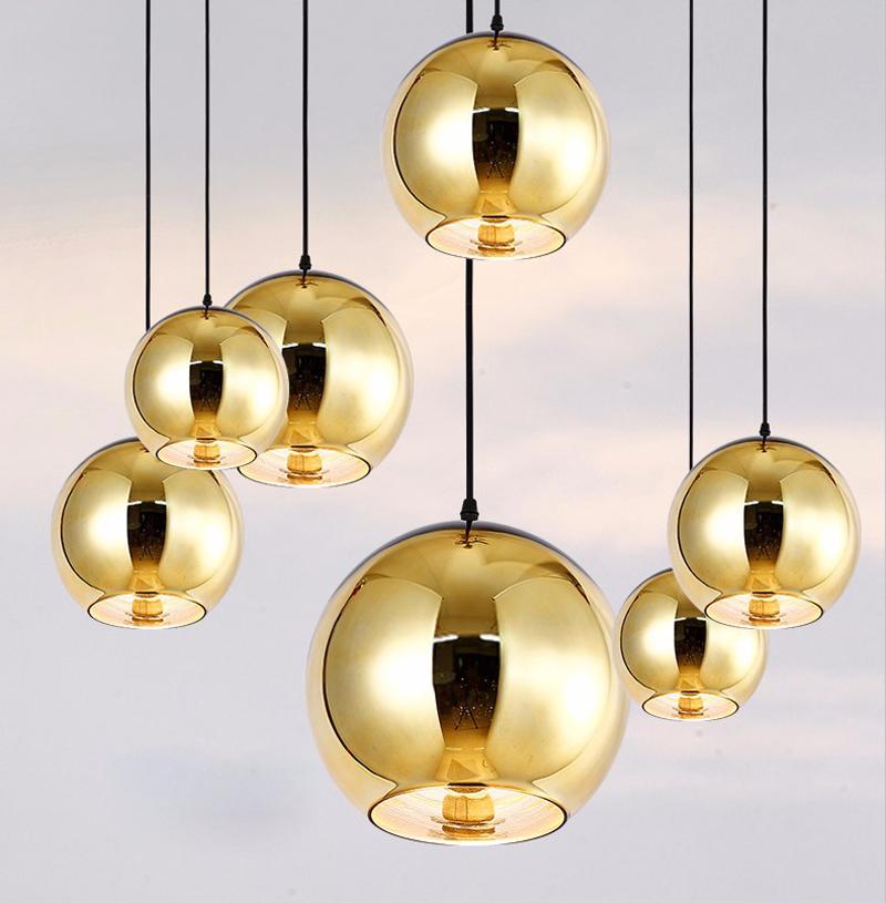 Horstent Nordic Home globe glass pendant lamp silver gold copper color dinning room living room light home decoration lighting (16)