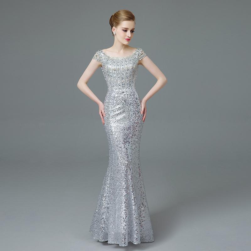 Elegant Mermaid Sequined Evening Dresses 2016 Silver Prom
