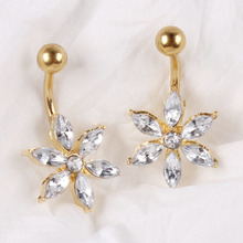706 Unique Design Stainless Steel Single Luxury Gold Crystal Flower Navel Belly Button Rings Body Piercing