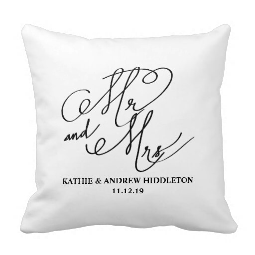Pillows Cover Mr And Mrs Classy Typography Script Wedding Pillow Case (Size: 20