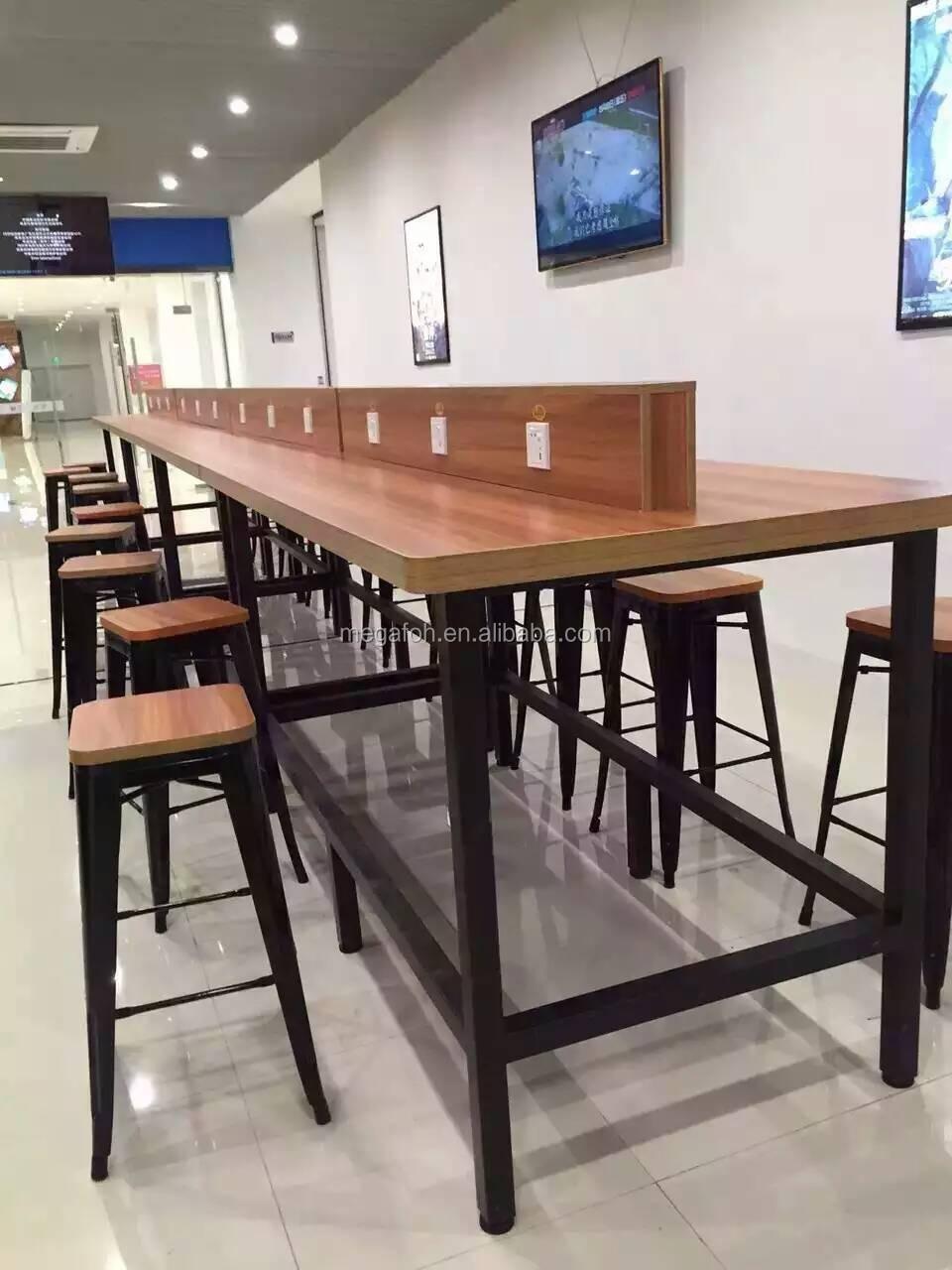 Solid Rustic Wood Long Bar Table Top Metal Base Bar Stool