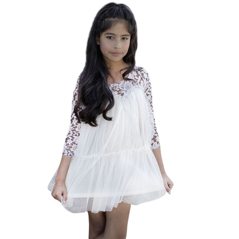 2015 Kids Princess Girl Lace font b Fancy b font font b Dresses b font Long