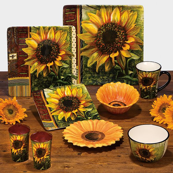 Sunflower Home Decor: Ceramic Fashion Rustic American Sunflower Decoration Plate