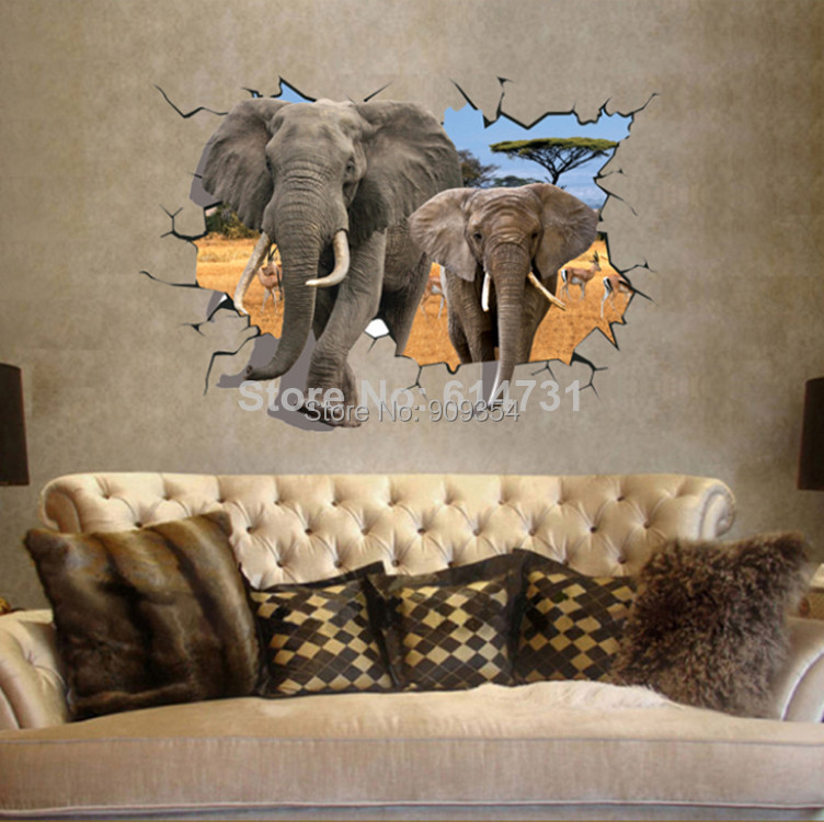 African Animal Elephants Antelope Wall Sticker Bedroom 3D