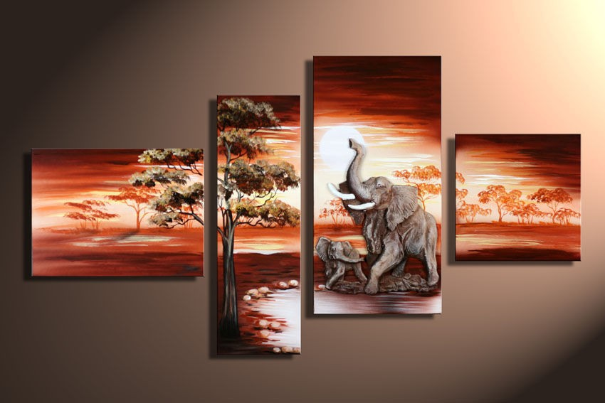 3 Piece Art Sets Hand Painted African Elephant Canvas