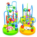 1Pcs Early Learning Toy Children Kids Baby Colorful Wooden Mini Around Beads Educational Mathematics Toy Random
