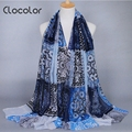 Clocolor Vintage Patchwork Autumn Scarves for Women Harajuku style Printed Shawl muslim hijab Scarves for Women