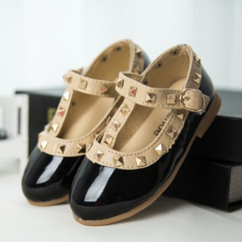 Hot selling kids flat leahter shoes baby children shoes leather female rivet princess single shoes
