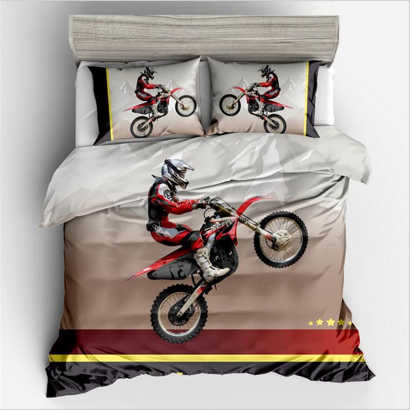 Motorcycle Design Print Bedding Set King Size 3d Duvet Cover Set
