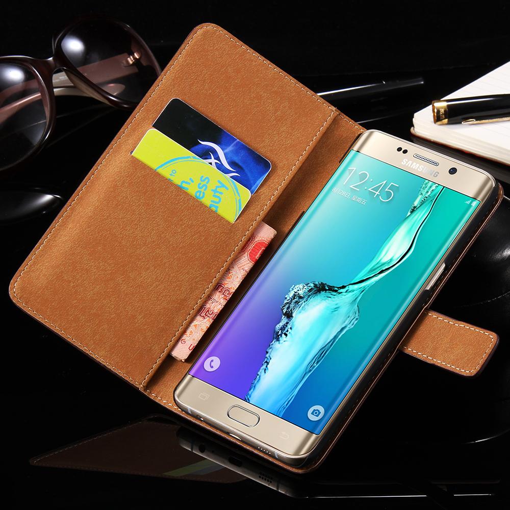 S6edge Luxury Genuine Leather Wallet Case For Samsung Galaxy S6 edge plus G928 G928F Stand Flip