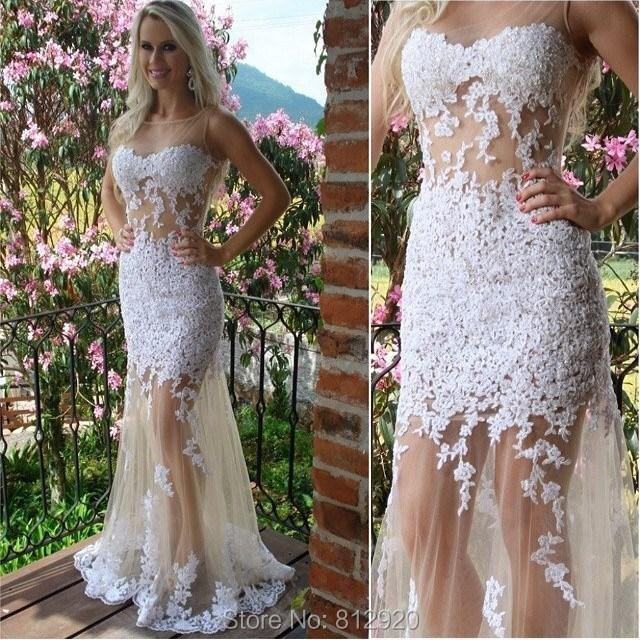 Mermaid Nude Tulle White Lace Appliques New See Through