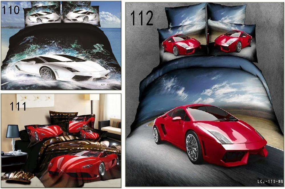 voiture de sport coton literie ensembles de draps ensemble de literie lit 3d 4 pcs housse de. Black Bedroom Furniture Sets. Home Design Ideas