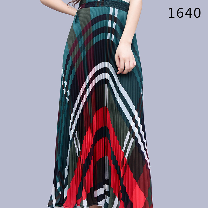 9f35152be 2019 FLOWER SKY Summer Fashion Vintage Plaid Print Party Maxi Skirt ...