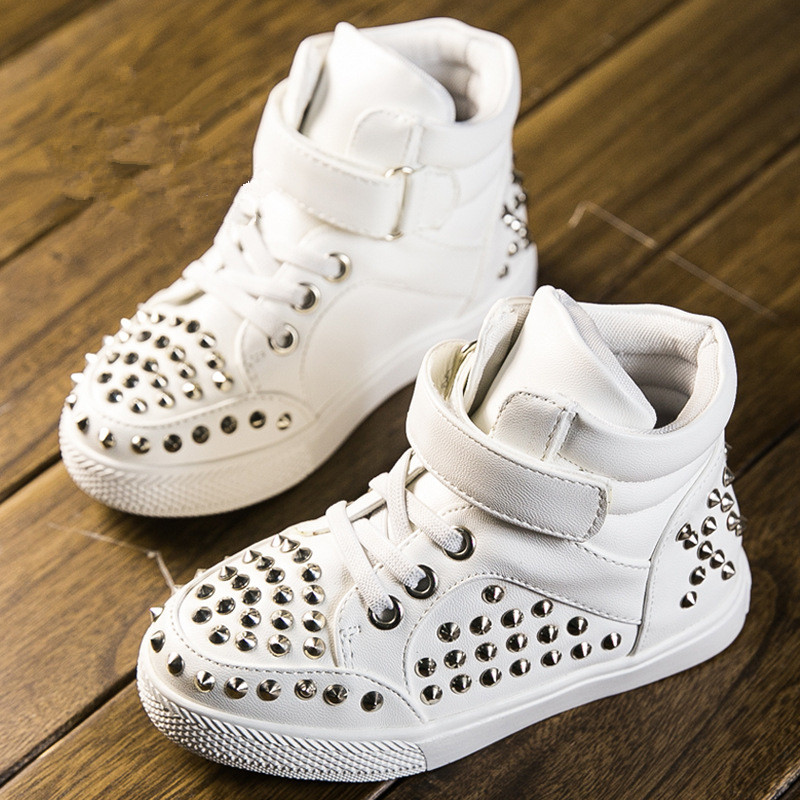 Brand designer children shoes boys girls shoes fashion rivets shoes children boots kids sneakers pu leather