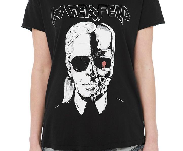 Карл Lagfeld печать Tshirt творческий мода череп принт футболка женщин с рукавом прямо футболки