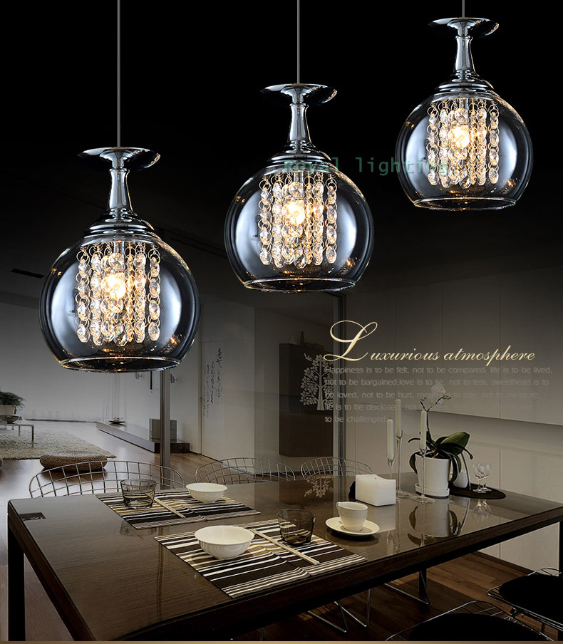 3 Lights Bar Crystal Pendant Lamps Led Hanging Light Glass