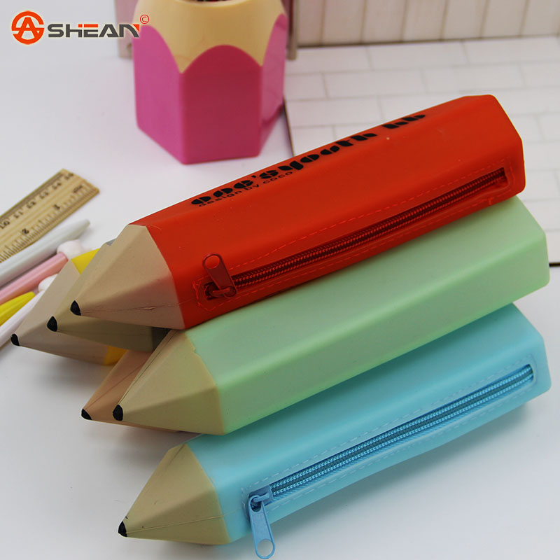 1pcs Novelty Kawaii Silicone Stationery Pencil Pen Case Students School Supplies 6 Colors Can Choose