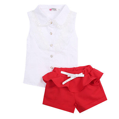 Baby Girls Party Lace Floral Tops Blouse Shirt Short Twinset Outfits Set 2 7Y