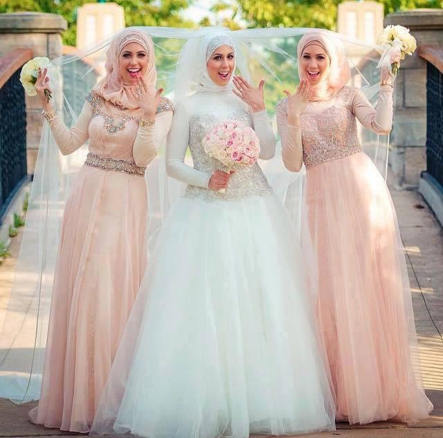 Elegant Long Sleeve Wedding Dresses Muslim Dress 2015: 2015 Elegant Muslim Hijab Wedding Dresses With Long Sleeve
