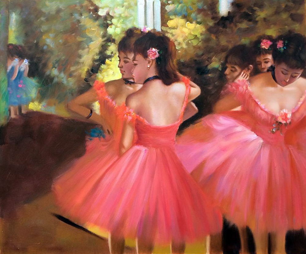 Impressionist Edgar Degas Famous Paintings Dancers in Pink ...
