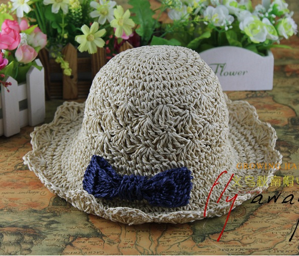 wholesale NEW children baby summer sunhat handmade straw hat with bow beach straw hat cap sunhat