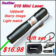 [RedStar]010 mini Laser Gift set 1000mW  green laser pointer starry image include 16340 battery and charger and plastic box