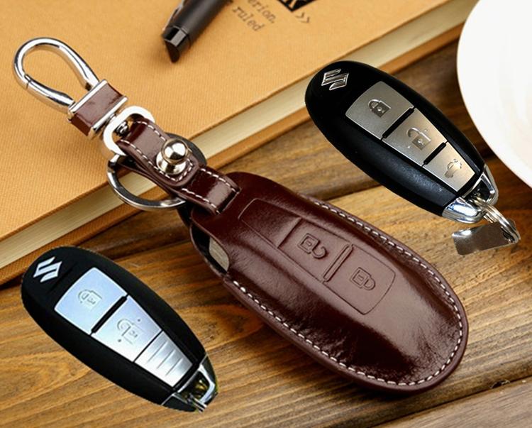 Leather Key fob Cover holder for Suzuki Maruti Ciaz SX4 S CROSS Kizashi smart key case