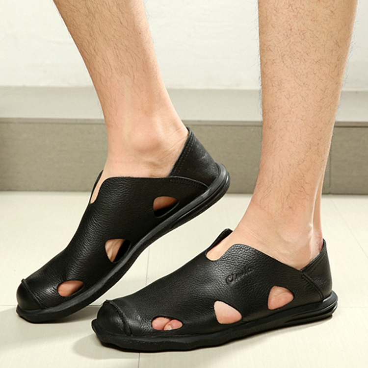 Casual Leather Open Toe Women S Slip On Shoes