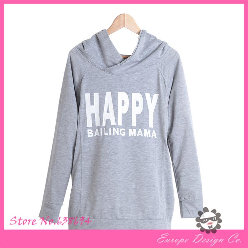 Толстовки корейски Sweatershirt для беременных женщин письмо днем печать с капюшоном с длинными рукавами беременных женщин Sweatersuit бесплатная доставка