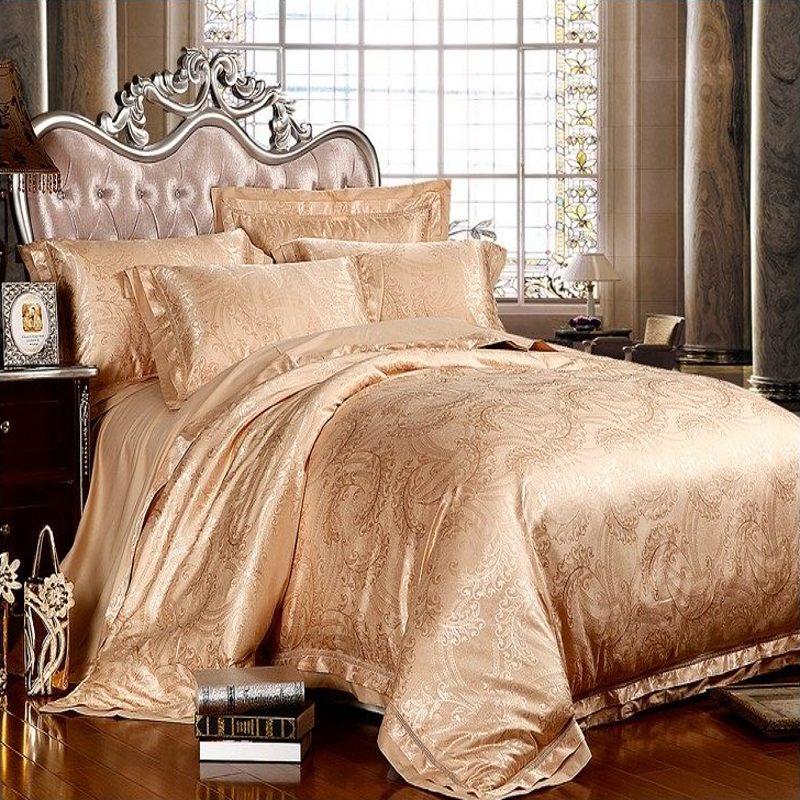 buy luxury gold jacquard bedding set king queen 4pc tribute silk quilt. Black Bedroom Furniture Sets. Home Design Ideas