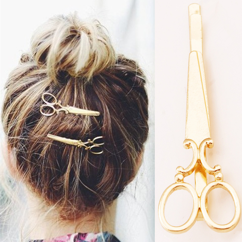 1PC Women Hair Accessories Simple Metal Gold Scissors ...