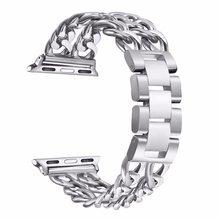 Ремешок из нержавеющей стали для Apple Watch 5 4 3 2 1, 38 мм 42 мм 40 мм 44 мм, металлический ремешок для iWatch Series 5 4 3 2 1(Китай)