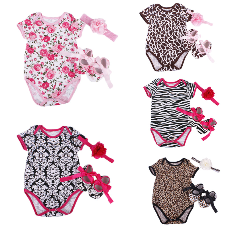Floral Baby Girl Infant 3pcs Clothing Sets Cotton Short Sleeve Romper/Jumpersuit+Headband+Shoes Bebe Birthday Costumes Suit