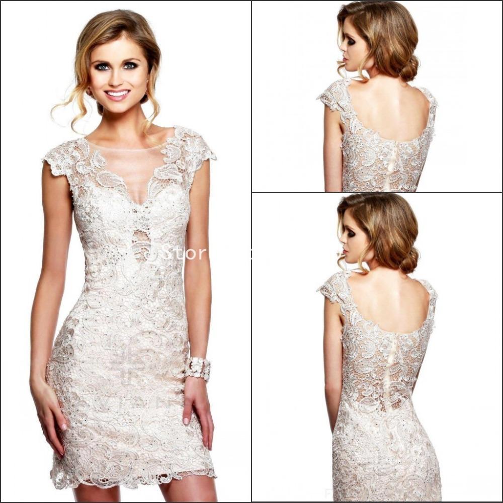 Elegant Lace Sleeve Short Wedding Dresses 2016 Scoop Neck: 2016 Lace Cocktail Party Dress Scoop Neckline Cap Sleeves