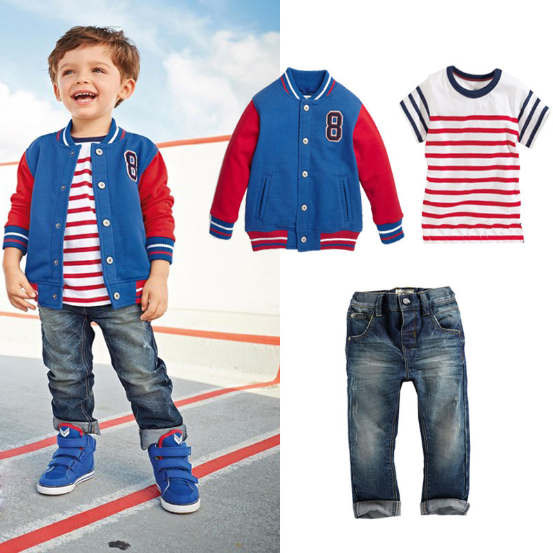 363e012b0 2015 baby boy kids clothes Baseball jacket+ Striped t-shirt+jeans boys  clothes