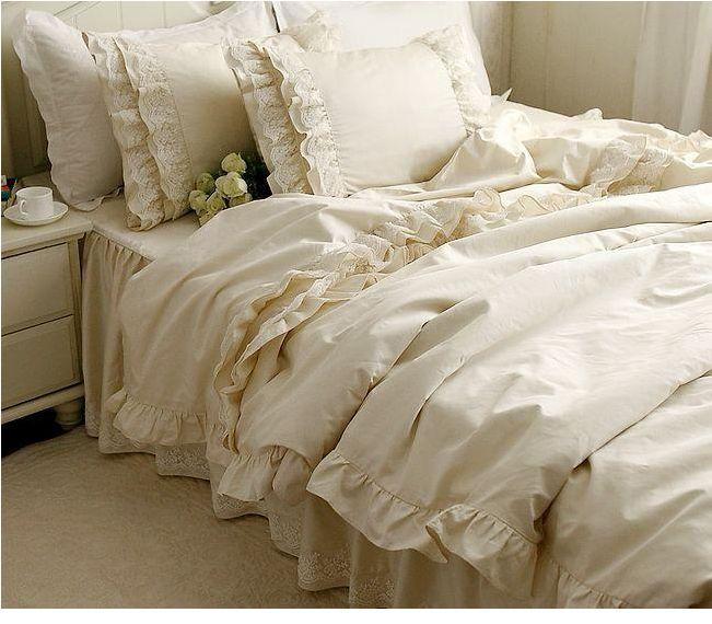 4pcs 6pcs luxury bedding set romantic bedspread lace edge king queen twin size bed set home. Black Bedroom Furniture Sets. Home Design Ideas