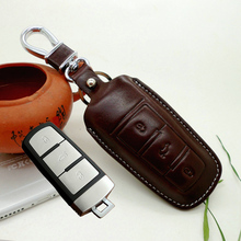 Leather car key holder cover for Volkswagen vw magotan CC Passat B5 B6 B7 3 buttons key case shell bag keychain auto accessories