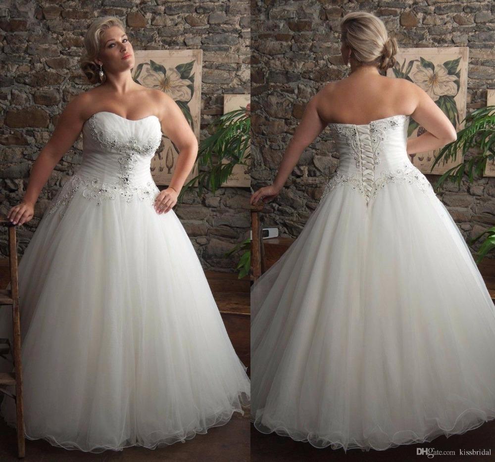 2015-KISSBRIDAL-Plus-Size-Wedding-Dress-Strapless-Lace-up