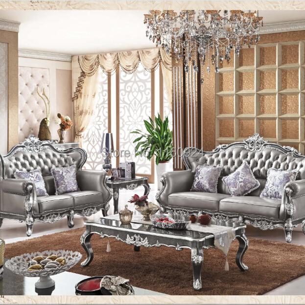 2 Sofas In Living Room: Luxury Silver Grey Oak European Style Living Room