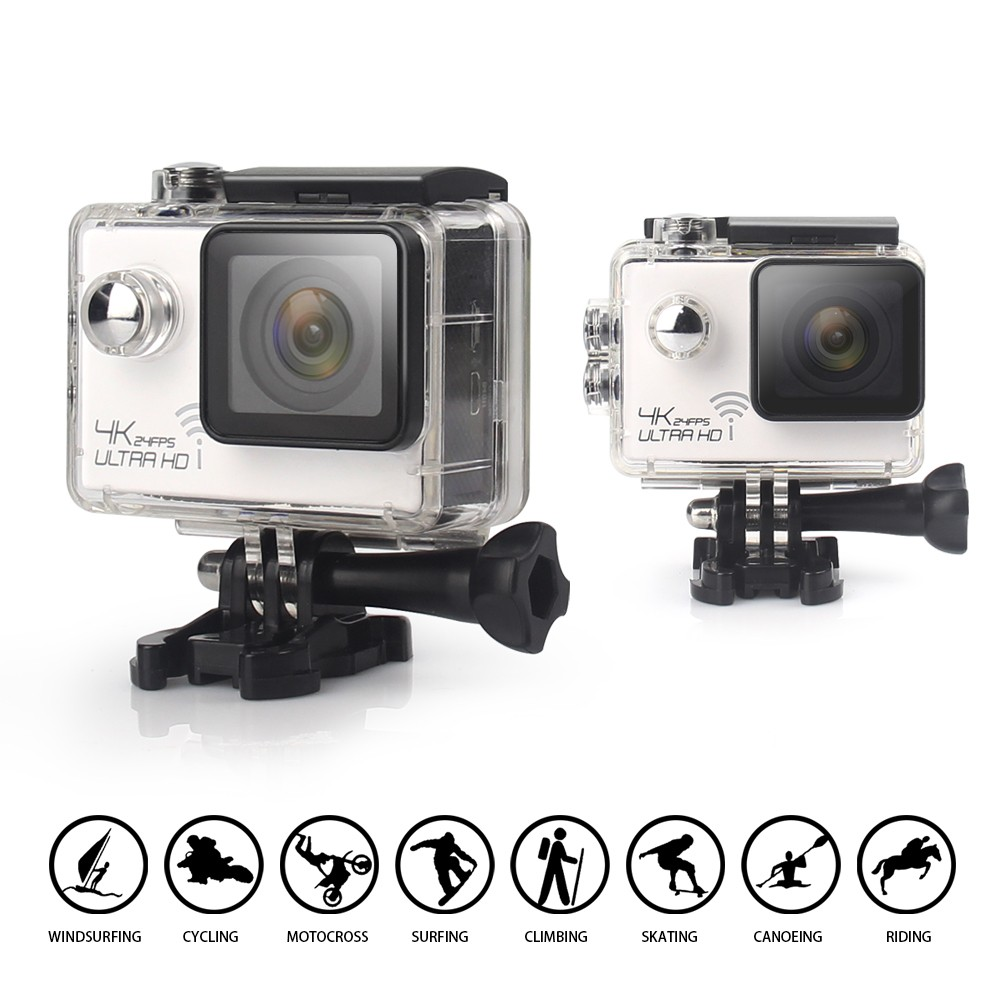 Оригинал 4 К 24fps Спорт Действий Камеры Wi-Fi Спорт экстрим Мини Камеры Шлем Камеры 30 М Водонепроницаемый 2.0 inch LCD как gopro